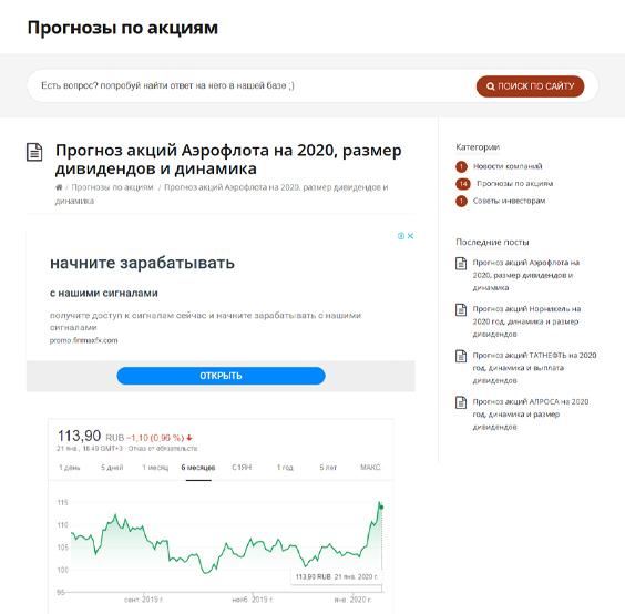 """Информационный сайт """"Прогноз-по-акциям.рф"""""""